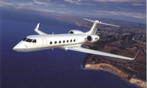 The G550 is a business jet aircraft produced by General Dynamics' Gulfstream Aerospace unit, located in Savannah, Georgia. The G550 has the efficiency to fly 6,750 nautical miles/12,501 kilometers nonstop but also is capable of operating out of short-field, high-altitude airports. The G550 can transport up to 18 passengers and still has the range to fly nonstop more than 12 hours.