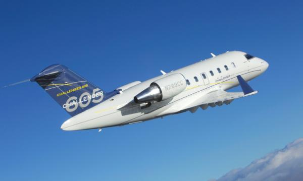 The Challenger 605 is one in the series of business jets manufactured by Bombardier Aerospace. It performs well due in large part to its two General Electric CF34-3B engines, producing 8,729 lbs of thrust apiece. Equipped with the same wings and engines, the long-range business jet performs similarly to the 604. It can travel over 4,000 nautical miles at a Mach .80 maximum. Its maximum takeoff weight (MTOW) is 48,200 lbs.
