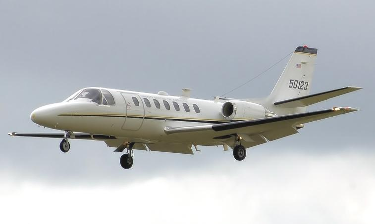 The Cessna Citation V is a turbofan-powered small-to-medium sized business jet built by the Cessna Aircraft Company in Wichita, Kansas. The cabin pressurization system can hold a sea-level cabin to 23,580 feet, which is useful when flying at a high speed (425 knots/hour) cruise at 37,000 feet, or at a long range (350 knots/hour) cruise at the Citation V's maximum certified flight ceiling of 45,000 feet. Takeoff distances are fairly short. At sea level, the Citation V can take off in 3,160 feet. At an altitu