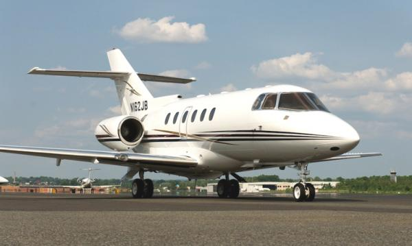 The Hawker 800 is a mid-size twin-engine corporate aircraft. It is a development of the British Aerospace BAe 125, and was assembled by Hawker Beechcraft. One of the Hawker 800XP's strong points is its ability to take off from runways much shorter than are typically required for private jet international flights. At sea level, 5,032 feet of runway is required; at an elevation of 5,000 feet, the requirement increases to 7,952 feet.